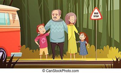 Grandparents And Grandchildren Cartoon Composition