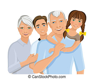 Grandparents and grandchildren - Old senior people family...