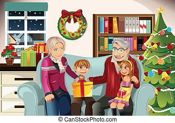 Grandparents and grandchildren on Christmas time - A vector...