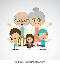 grandparents and grandchildren over gray background vector...