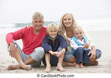 Grandparents And Grandchildren Sitting On Winter Beach...