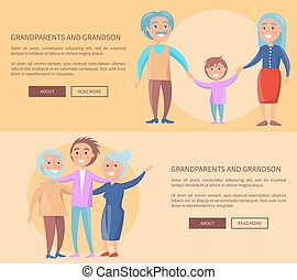 Grandparents and Grandson Little and Grown up Set -...