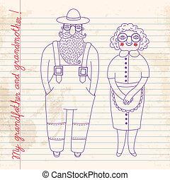 grandparents., couple., personnes agées