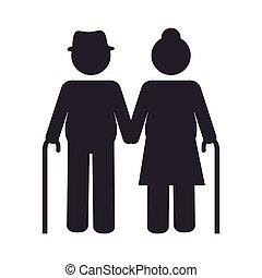 grandparents couple silhouette icon vector illustration...
