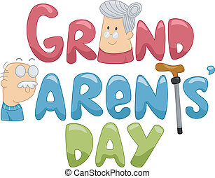 Grandparents' Day - Illustration of a Grandmother and a...