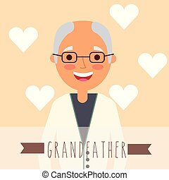 grandparents day people - cute bald grandfather in glasses...