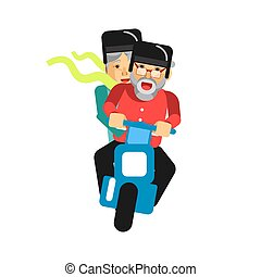 Grandparents driving on motorbike isolated on white. Vector illustration