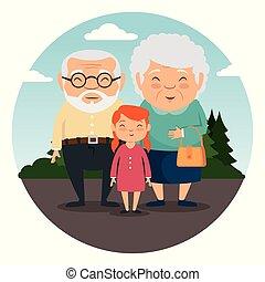 grandparents family with grandchildren vector illustration...