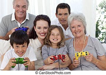 grandparents, forældre, og, børn spille, boldspil video