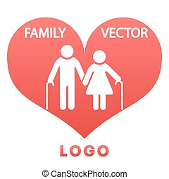Grandparents in heart happy family logo design