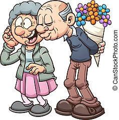 Grandparents in love. Vector clip art illustration with...