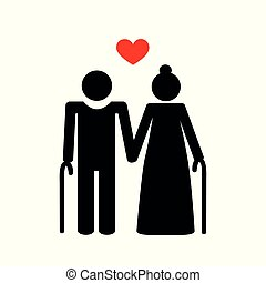 grandparents old couple pictogram vector illustration EPS10