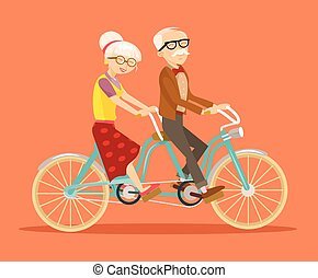 Grandparents on bicycle
