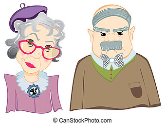 Grandparents - Portrait of grandfather and grandmother on...