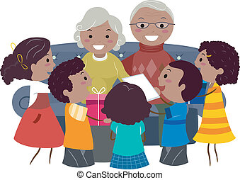Grandparents Presents - Illustration of Kids Giving Presents...
