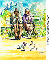 Grandparents - Retired couple sitting together on a bench in...