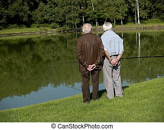Grandparents talking a walk, watching over the pond, relfecting on their lives.