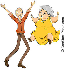 Grandparents Jumping with Clipping Path