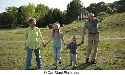 Grandparents walking with grandchildren in park