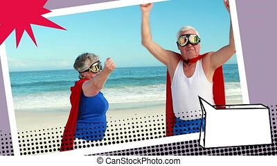 Grandparents wearing superhero costumes