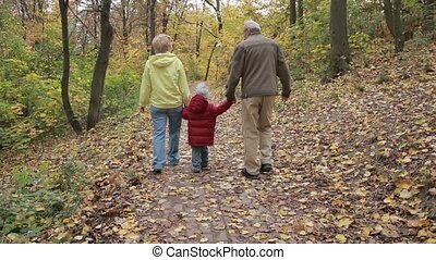 Grandparents with grandchild in autumn park - Rear view of...