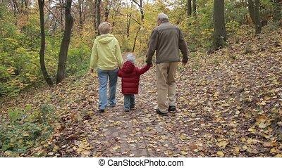 Grandparents with grandchild in autumn park