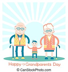 Grandparents with grandchild. Vector family illustration
