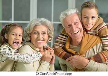 grandparents with grandchildren portrait