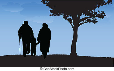 Grandparents with grandson and granddaughter