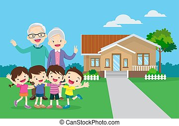 grandparents with kids and background of them home - ...