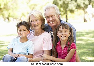 grands-parents, apprécier, parc, jour, petits-enfants
