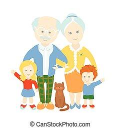 grands-parents, day., family., heureux, mignon, vieux, couple, à, grandchildren.