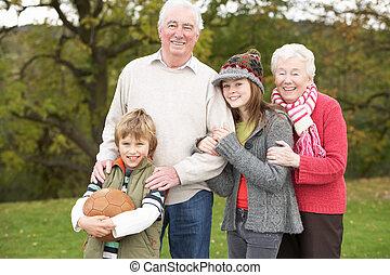 grands-parents, dehors, football, tenue, petits-enfants