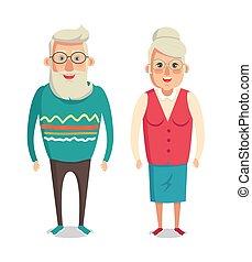 grands-parents, dessin animé, caractère, grand-maman, et, papy