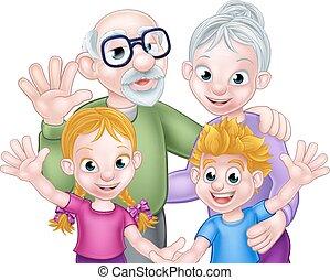grands-parents, dessin animé, enfants