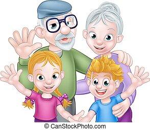 grands-parents, dessin animé, petits-enfants