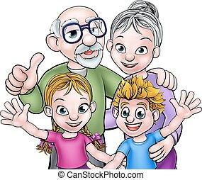 grands-parents, enfants, caractères, dessin animé