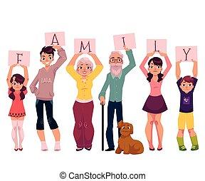 grands-parents, et, petits-enfants, tenue, mot, famille