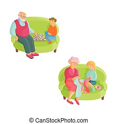 grands-parents, et, petits-enfants, -, tricot, échecs