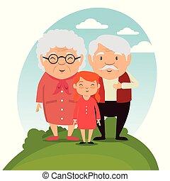 grands-parents, famille, à, petits-enfants