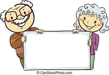 grands-parents, figures, planche, tenue, vide, crosse