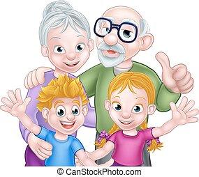 grands-parents, gosses, dessin animé