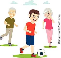 grands-parents, jouer, petit-enfant