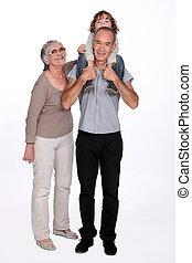 grands-parents, petit garçon