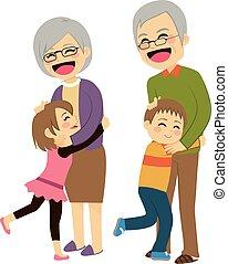 grands-parents, petits-enfants, étreindre