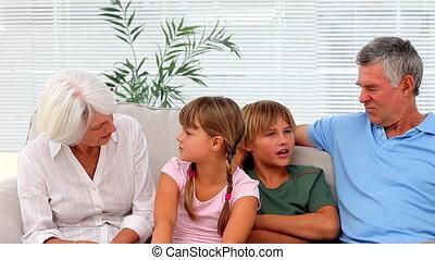 grands-parents, petits-enfants, cha