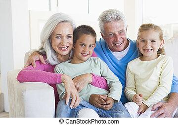 grands-parents, poser, petits-enfants