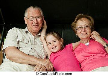 grands-parents, retraite, -, petit-enfant, heureux