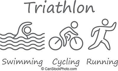 grands traits, de, figures, triathlon, athletes., natation, cyclisme, et, courant, symbols.