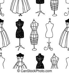 grands traits, modèle, mannequins, couture, seamless, divers